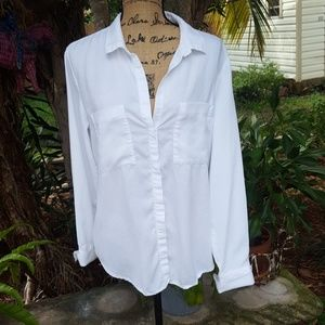 Cloth & Stone white button front blouse